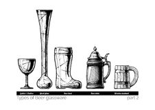 Illustration of Beer glassware. Types of Beer glassware. Goblet, Yard glass, Beer boot, stein and wooden tankard. illustration of stemwares in vintage engraved Stock Image