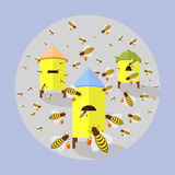 Illustration of bees and hives Stock Photo