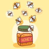 Illustration of bees and honey pot Stock Photography
