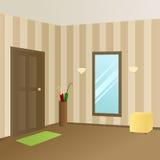 Illustration beige de porte de pièce intérieure moderne de couloir Photographie stock