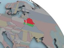 Map of Belarus with flag. Illustration of Belarus on political globe with embedded flags. 3D illustration Royalty Free Stock Image