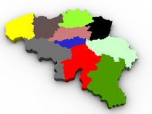 Illustration of the belgium provinces map Stock Images