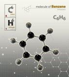 Illustration of Benzene Molecule  grey background. 3d Illustration of Benzene Molecule  grey background Royalty Free Stock Image