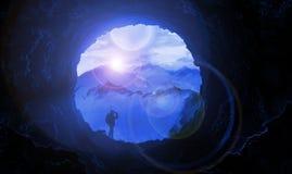 Illustration berg, grotta, månsken, djurliv, resa stock illustrationer
