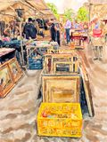 Illustration of Berlin flear market at street of 10th june. People walking around royalty free stock images