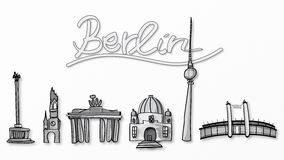 Illustration of Berlin landmarks Stock Photography