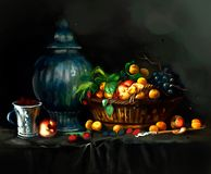 Illustration of berries on the table stock illustration