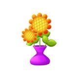 Illustration: Beståndsdeluppsättning: Vas av blommor stock illustrationer