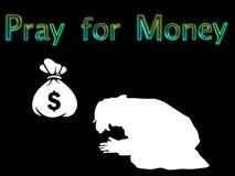 Illustration beten für Geld stock abbildung