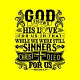 Illustration biblique Dieu montre son amour pour nous dans celui tandis que nous étions toujours des pécheurs, le Christ est mort illustration de vecteur