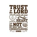 Illustration biblique Faites confiance dans le SEIGNEUR avec tout votre coeur, et ne vous penchez pas sur votre propre compréhens illustration stock