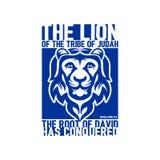 Illustration biblique Lettrage chrétien Le lion de la tribu de Judah 5:5 de révélation illustration stock