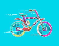 illustration of bicycle moving fast on bright blue backgr Stock Photography