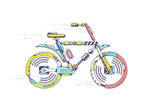 Illustration of bicycle moving fast on light background l Stock Image