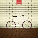 Illustration bicycle over brick wall royalty free illustration