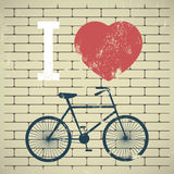 Illustration bicycle over grunge brick wall. I lov Stock Images
