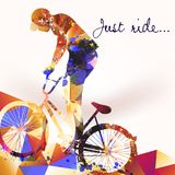 Illustration with bicycle rider. From colorful pieces vector illustration