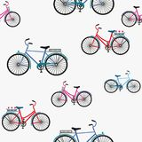 Illustration of Bicycle, Riding on the bicycle, vector illustration. Seamless pattern. stock illustration