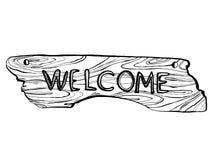 Illustration bienvenue en bois de vecteur de gravure de plat Image libre de droits