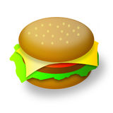 Illustration big appetizing hamburger Stock Images