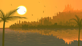 Illustration of big arab city by sea at sunset. Royalty Free Stock Image