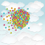Illustration of big balloon shape filled with colorful small round confetti Stock Photos