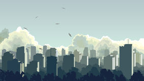 Illustration of big city in blue tone. Stock Photography