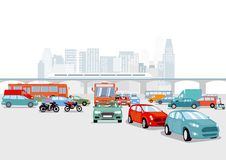 Highway and railroad in big city. An illustration of a big city with lot of traffic on a highway and a railroad track above it vector illustration