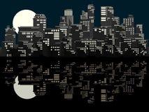 Illustration of big city at night. Stock Image