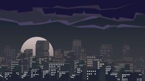 Illustration of big city at night. Royalty Free Stock Photo