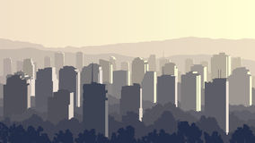 Illustration of big city at sunset. Royalty Free Stock Image
