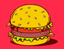 Illustration of big classic burger on red background. Stock Photography