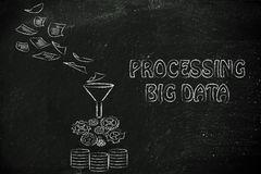 Illustration of big data, file transfes and sharing files. Concept of big data processing and storage:documents, processing and remote storage Royalty Free Stock Photography