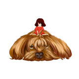 Illustration: The Big Dog and the Little Girl. The little girl sit on the big dog's hair and think to make it a pigtail. Realistic Fantastic Cartoon Style Royalty Free Stock Image