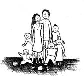 Illustration of a big family Stock Image