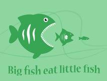 Illustration big fish eat little fish. Big fish eat little fish Stock Photo