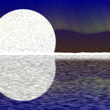 Illustration of big moon, aurora on nigh sky and snowy horizon. With reflection on water stock illustration