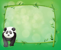 A big panda beside a bamboo frame Royalty Free Stock Images