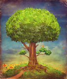 Illustration of a big tree. Summer background Royalty Free Stock Image