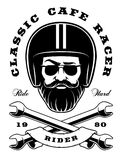 Biker with beard and crossed wrenches Royalty Free Stock Photos