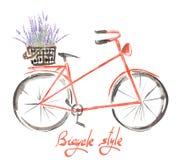 Illustration (Bild) des roten Fahrrades des Aquarells mit Korb des Lavendels blüht Lizenzfreie Stockbilder