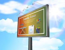 Billboard advertisement poster with laundry service on daytime blue sky background vector illustration
