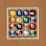 Billiard balls in the box. Illustration of billiard balls in the box Royalty Free Illustration