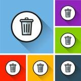 Bin icons with long shadow. Illustration of bin icons with long shadow Royalty Free Stock Image