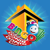 Illustration of bingo house. The image contain a bingo balls, tickets, money and house on blue background Royalty Free Stock Photography