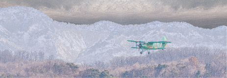 Illustration of biplane flying over rough mountainous terrain. With storm clouds building above mountains in background Stock Image