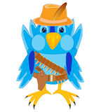Bird in cloth cowpuncher. Illustration of the bird in cloth cowpuncher on white background Stock Photo