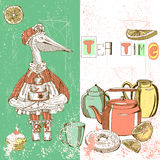 Illustration with bird and dishes Stock Image