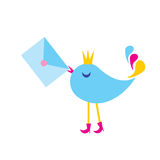 The Illustration bird with envelope. Royalty Free Stock Photos
