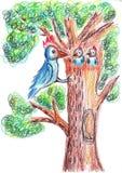 Illustration bird family Stock Photo